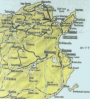 Tunesien Karte.Urlaub In Nabeul In Tunesien Rassware De